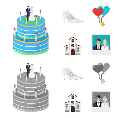 結婚式と属性漫画、フラット、アウトライン、デザインのためのセットコレクションの黒いアイコン。新婚とアクセサリーのベクトルシンボルのイラスト。