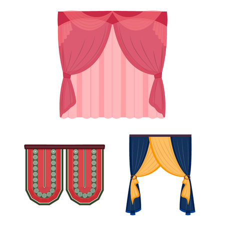 Different kinds of curtains cartoon icons in set collection for design. Curtains and lambrequins vector symbol stock  illustration. Illustration
