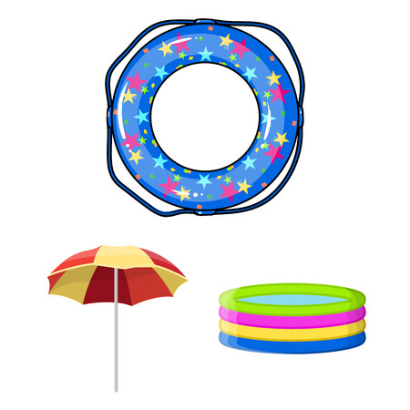 Multicolored swimming circle cartoon icons in set collection for design. Different lifebuoysvector symbol stock  illustration. Vectores