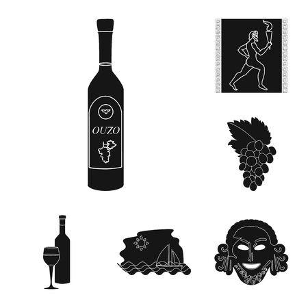 Country Greece black icons in set collection for design.Greece and landmark vector symbol stock  illustration.
