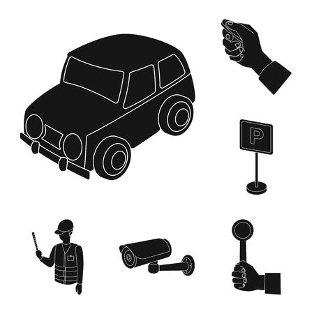 Parking for cars black icons in set collection for design. Equipment and service vector symbol stock  illustration. Illustration