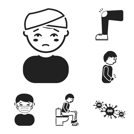 The sick man black icons in set collection for design.Illness and treatment vector symbol stock  illustration. Illustration
