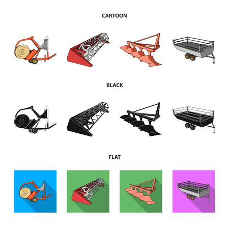 Plow, combine thresher, trailer and other agricultural devices. Agricultural machinery set collection icons in cartoon,black,flat style vector symbol stock illustration .