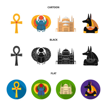 Anubis, Ankh, Cairo citadel, Egyptian .Ancient Egypt set collection icons in cartoon,black,flat style vector symbol stock illustration .
