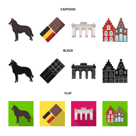 Chocolate, cathedral and other symbols of the country.Belgium set collection icons in cartoon,black,flat style vector symbol stock illustration .