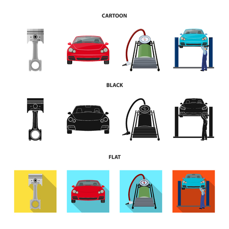 Car on lift, piston and pump cartoon,black,flat icons in set collection for design.Car maintenance station vector symbol stock illustration .