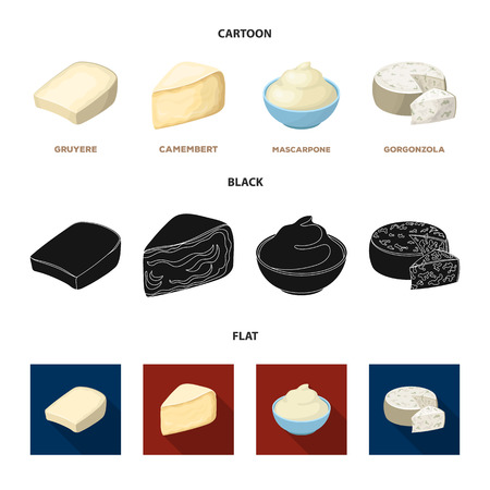 Gruyere, camembert, mascarpone, gorgonzola.Different types of cheese set collection icons in cartoon,black,flat style vector symbol stock illustration .
