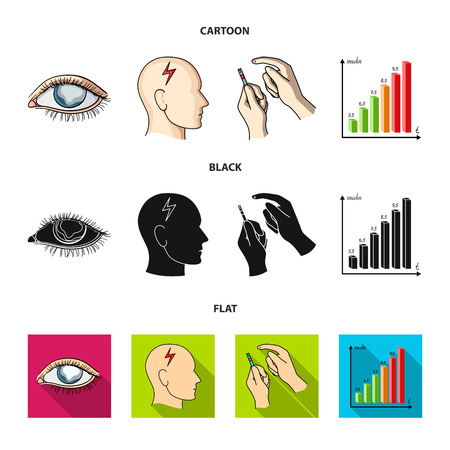 Poor vision, headache, glucose test, insulin dependence. Diabetic set collection icons in cartoon,black,flat style vector symbol stock illustration .