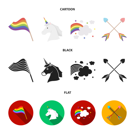 Flag, unicorn symbol, arrows with heart.Gay set collection icons in cartoon,black,flat style vector symbol stock illustration .