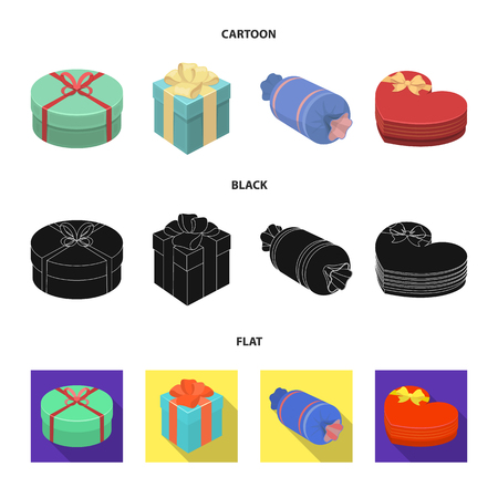Gift box with bow, gift bag.Gifts and certificates set collection icons in cartoon,black,flat style vector symbol stock illustration .