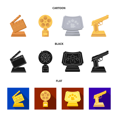 Gold pistol, silver prize for the best supporting role and other prizes.Movie awards set collection icons in cartoon,black,flat style vector symbol stock illustration . Stock Illustratie