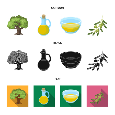 An olive tree, a branch with olives, a vessel and a jug of oil. Olives set collection icons in cartoon,black,flat style vector symbol stock illustration .