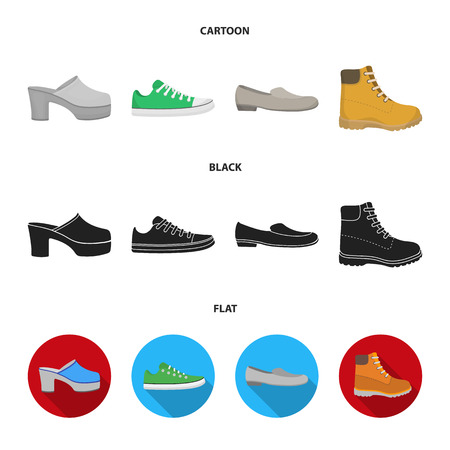 Flip-flops, clogs on a high platform and heel, green sneakers with laces, female gray ballet flats, red shoes on the tractor sole. Shoes set collection icons in cartoon,black,flat style vector symbol stock illustration .