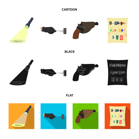 The detective flashlight illuminates the footprint, the criminal hand with the master key, a pistol in the holster, the kidnapper claim. Crime and detective set collection icons in cartoon,black,flat style vector symbol stock illustration .