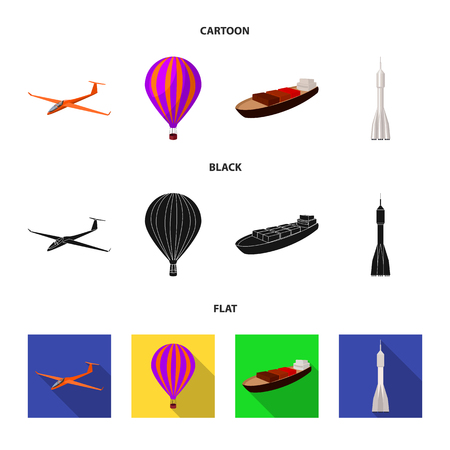 A drone, a glider, a balloon, a transportation barge, a space rocket transport modes. Transport set collection icons in cartoon,black,flat style vector symbol stock illustration . Ilustrace