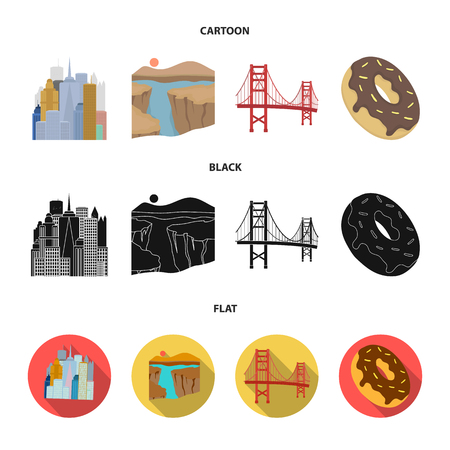 A megacity, a grand canyon, a golden gate bridge, donut with chocolate. The US country set collection icons in cartoon,black,flat style vector symbol stock illustration . Vectores