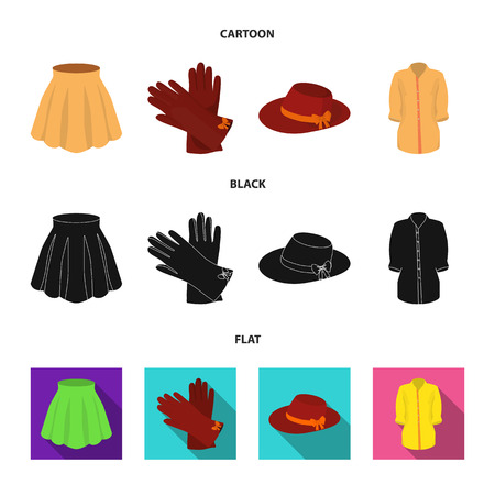 Skirt with folds, leather gloves, women hat with a bow, shirt on the fastener. Women clothing set collection icons in cartoon,black,flat style vector symbol stock illustration .