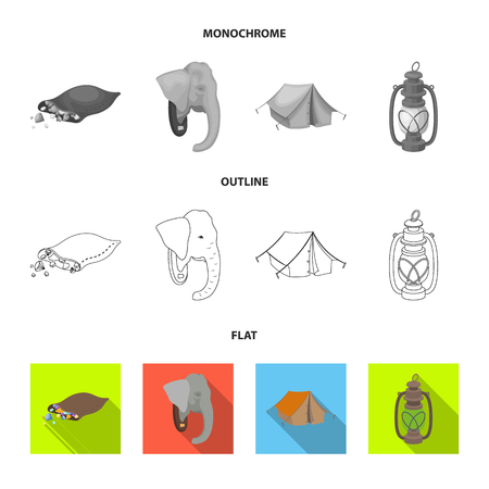 A bag of diamonds, an elephant head, a kerosene lamp, a tent. African safari set collection icons in flat,outline,monochrome style vector symbol stock illustration .