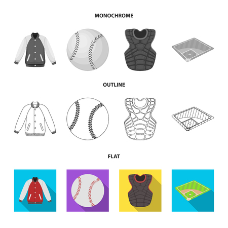 Playground, jacket, ball, protective vest. Baseball set collection icons in flat,outline,monochrome style vector symbol stock illustration . Illustration