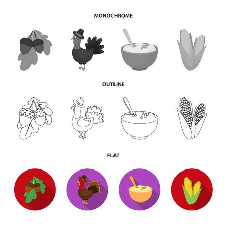 Acorns, corn.arthene puree, festive turkey,Canada thanksgiving day set collection icons in flat,outline,monochrome style vector symbol stock illustration . Çizim