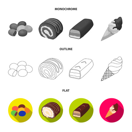 Dragee, roll, chocolate bar, ice cream. Chocolate desserts set collection icons in flat,outline,monochrome style vector symbol stock illustration . Illustration