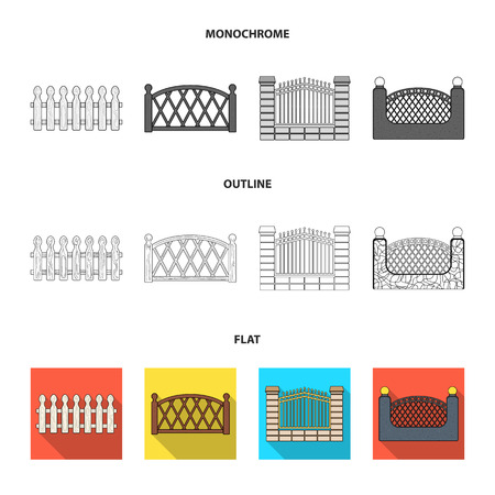 A fence of metal and bricks,wooden palisade. A different fence set collection icons in flat,outline,monochrome style vector symbol stock illustration .