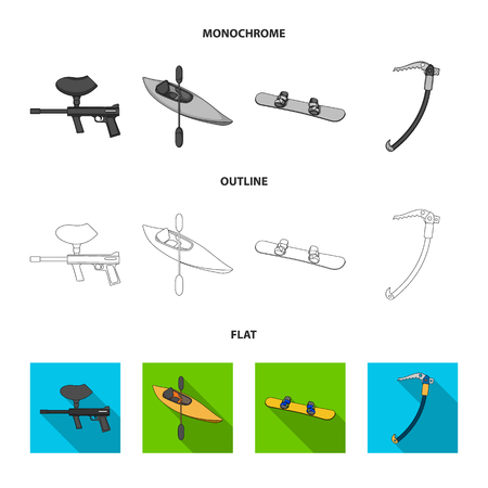 Paintball marker, kayak with a paddle, snowboard and climbing ice ax.Extreme sport set collection icons in flat,outline,monochrome style vector symbol stock illustration .