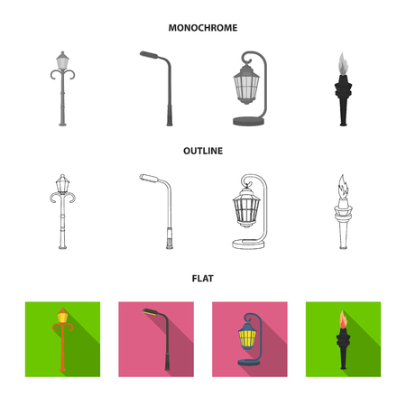 Lamppost in retro style,modern lantern, torch and other types of streetlights. Lamppost set collection icons in flat,outline,monochrome style vector symbol stock illustration .