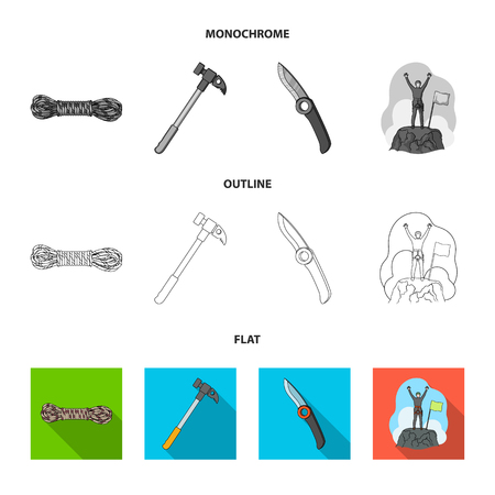 Climber on conquered top, coil of rope, knife, hammer.Mountaineering set collection icons in flat,outline,monochrome style vector symbol stock illustration .