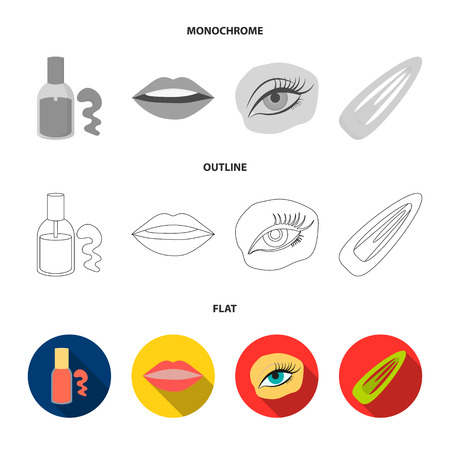 Nail polish, tinted eyelashes, lips with lipstick, hair clip.Makeup set collection icons in flat,outline,monochrome style vector symbol stock illustration .