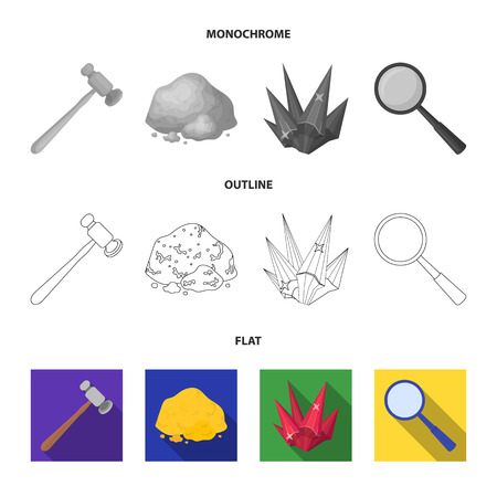 A jeweler hammer, a magnifier, a copper ore, a crystal. Precious minerals and a jeweler set collection icons in flat,outline,monochrome style vector symbol stock illustration .