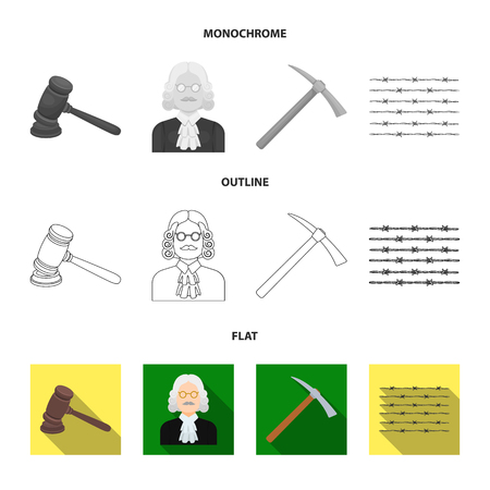 Judge, wooden hammer, barbed wire, pickaxe. Prison set collection icons in flat,outline,monochrome style vector symbol stock illustration . Illustration
