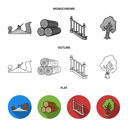 Logs in a stack, plane, tree, ladder with handrails. Sawmill and timber set collection icons in flat,outline,monochrome style vector symbol stock illustration .