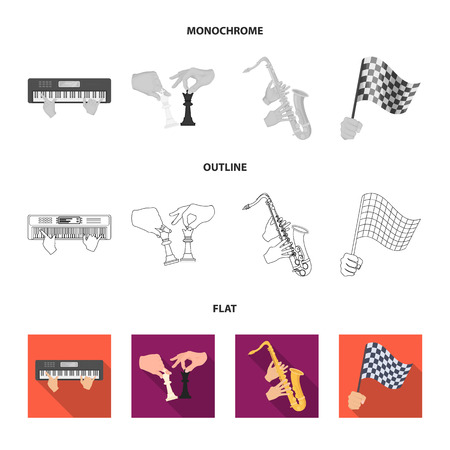 Playing on an electric musical instrument, manipulation with chess pieces and other web icon in flat,outline,monochrome style. playing on a gold saxophone, checkered flag of auto racing in hand icons in set collection.