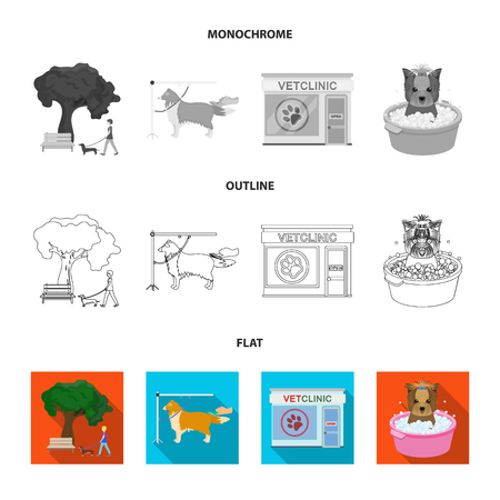 Walking with a dog in the park, combing a dog, a veterinarian office, bathing a pet. Vet clinic and pet care set collection icons in flat,outline,monochrome style vector symbol stock illustration web.