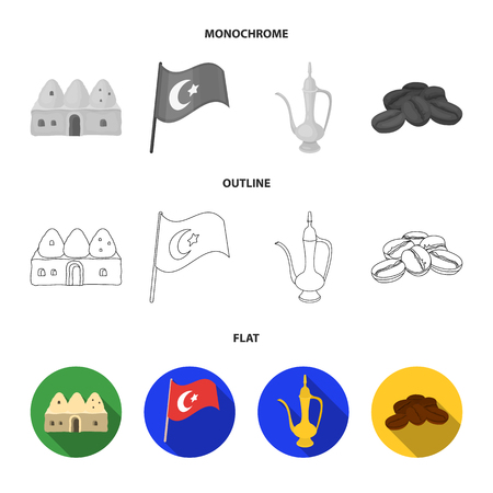 House hive, national flag, coffee pot copper, grains coffee.Turkey set collection icons in flat,outline,monochrome style vector symbol stock illustration web.