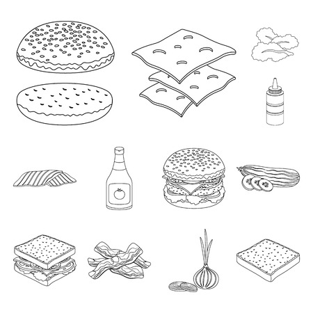 Burger and ingredients outline icons in set collection for design. Burger cooking vector symbol stock web illustration. Vettoriali
