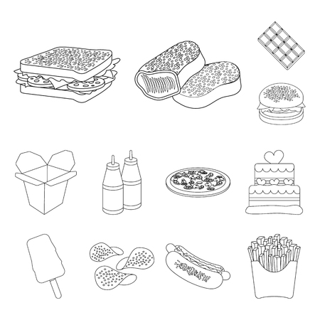 Fast food outline icons in set collection for design.Food from semi-finished products vector symbol stock web illustration.
