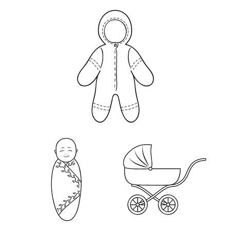Birth of a baby outline icons in set collection for design. Newborn and accessories vector symbol stock web illustration.