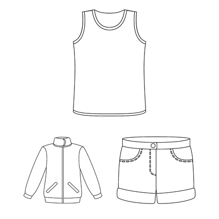 Different kinds of clothes outline icons in set collection for design. Clothes and style vector symbol stock  illustration. Stock Illustratie