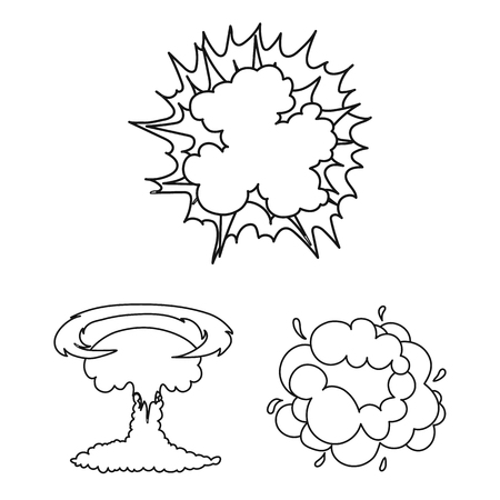 Different explosions outline icons in set collection for design.Flash and flame vector symbol stock web illustration. Иллюстрация