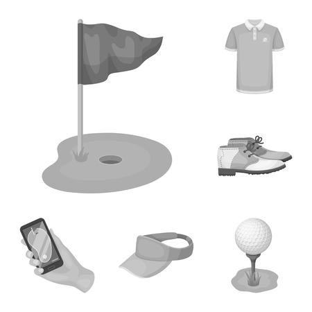 Golf y atributos monocromo iconos de colección set de diseño. Club de golf y equipo vector símbolo stock web ilustración.