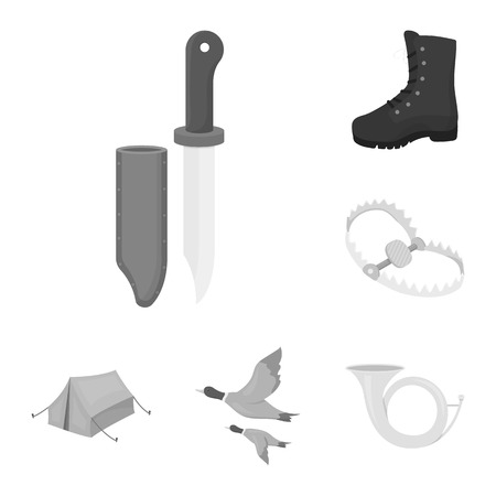 Hunting and trophy monochrome icons in set collection for design. Hunting and equipment vector symbol stock web illustration.