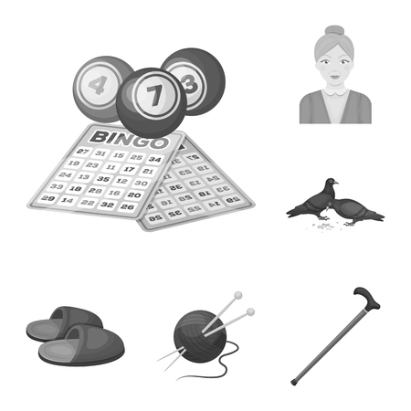 Human old age monochrome icons in set collection for design. Pensioner, period of life vector symbol stock web illustration.