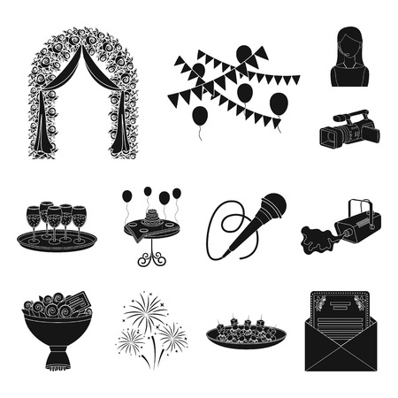 Event Organisation black icons in set collection for design.Celebration and Attributes vector symbol stock web illustration.