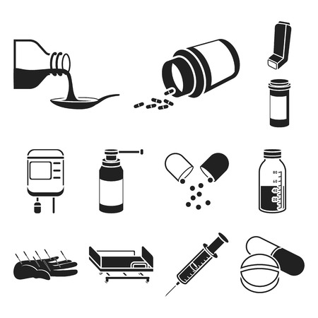 Medicine and treatment black icons in set collection for design. Medicine and equipment vector symbol stock web illustration.