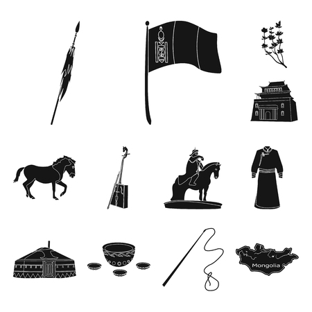 Country Mongolia black icons in set collection for design.Territory and landmark vector symbol stock web illustration. Vettoriali