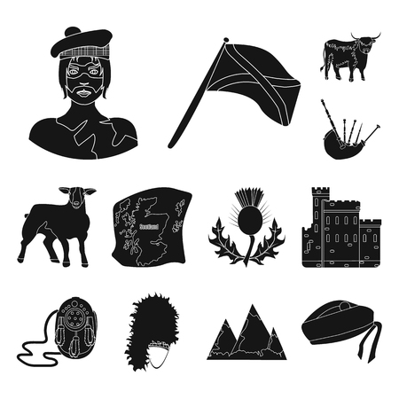 Country Scotland black icons in set collection for design. Sightseeing, culture and tradition vector symbol stock web illustration. Çizim