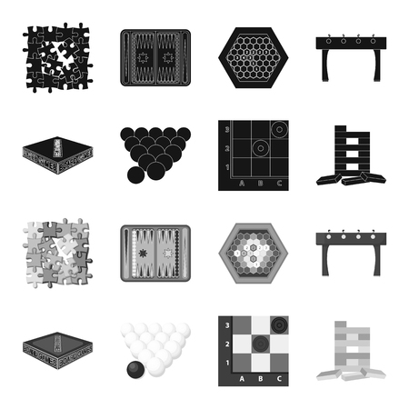 Board game black,monochrome icons in set collection for design. Game and entertainment vector symbol stock web illustration. Illustration