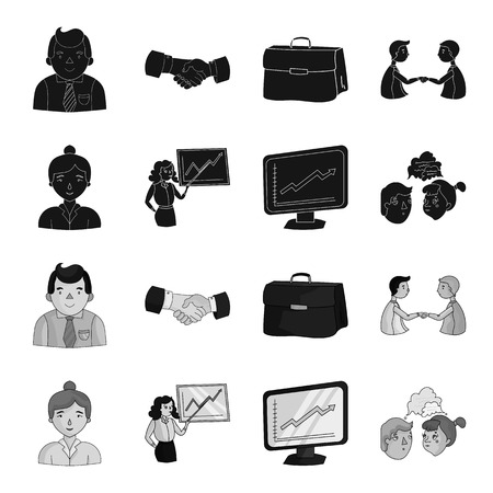 Businesswoman, growth charts, brainstorming.Business-conference and negotiations set collection icons in black,monochrome style vector symbol stock illustration web.